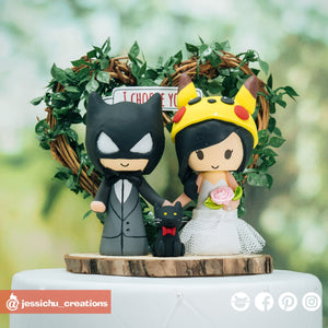Batman Groom & Pikachu Bride with Black Cat | DC x Pokemon | Custom Handmade Wedding Cake Topper Figurines | Jessichu Creations