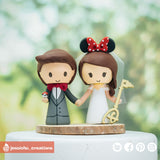 Pokemon Fan Groom & Disney Bride | Custom Handmade Wedding Cake Topper Figurines | Jessichu Creations