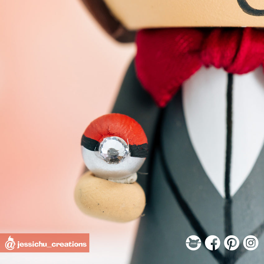Pokemon Fan Groom & Disney Bride Custom Handmade Wedding Cake Topper