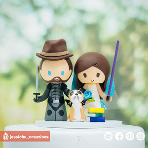 Max Effect Gamer & Fairy Bride| Custom Handmade Wedding Cake Topper Figurines | Jessichu Creations