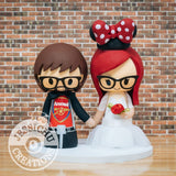 Arsenal Sports Fan and Minnie Mouse Bride Wedding Cake Topper | Sports x Disney | Jessichu Creations