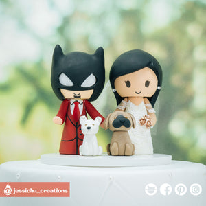 DC Batman Groom & Bride with Pet Dogs | Custom Handmade Wedding Cake Topper Figurines | Jessichu Creations