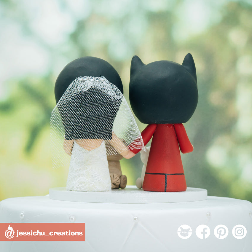 DC Batman Groom & Bride with Pet Dogs Custom Handmade Wedding Cake Topper