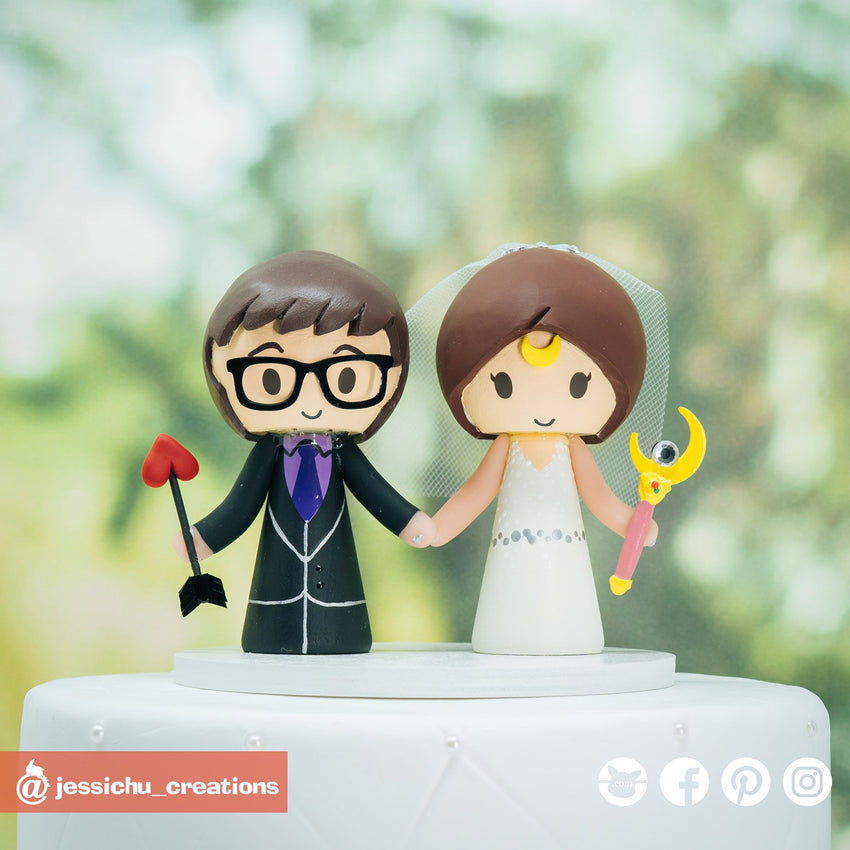 Archer Groom & Sailor Moon Bride | Custom Handmade Wedding Cake Topper Figurines | Jessichu Creations