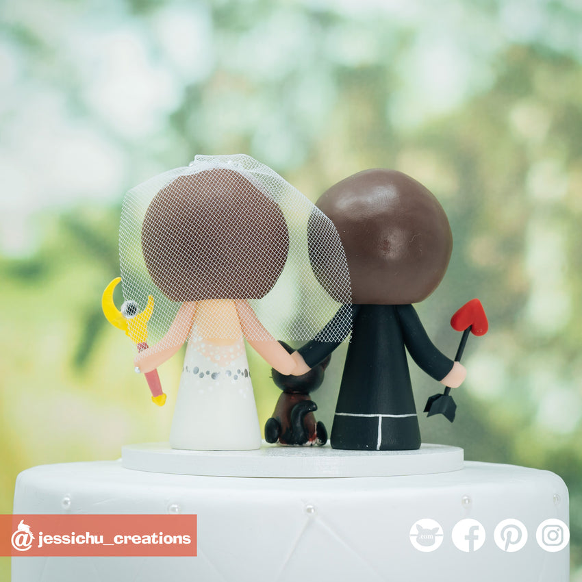 Archer Groom & Sailor Moon Bride Custom Handmade Wedding Cake Topper | Wedding Cake Toppers | Cake Topper Gallery | Jessichu Creations