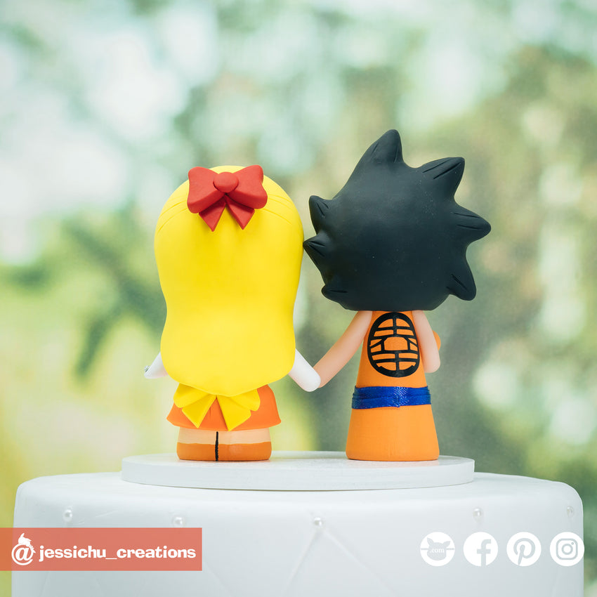 Goku Groom & Sailor Venus Bride Inspired Dragon Ball Z x Sailor Moon Wedding Cake Topper | Wedding Cake Toppers | Cake Topper Gallery | Jessichu Creations