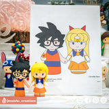 Goku Groom & Sailor Venus Bride | Dragon Ball Z x Sailor Moon | Custom Handmade Wedding Cake Topper Figurines | Jessichu Creations