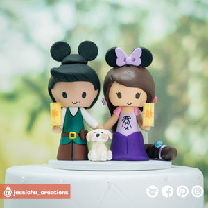 Flynn Rider & Rapunzel with Floating Lanterns | Disney Tangled | Custom Handmade Wedding Cake Topper Figurines | Jessichu Creations