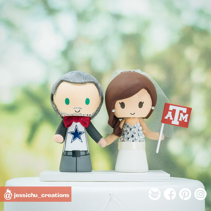 Dallas Cowboys Fan & Texas A&M Bride | Custom Handmade Wedding Cake Topper Figurines | Jessichu Creations