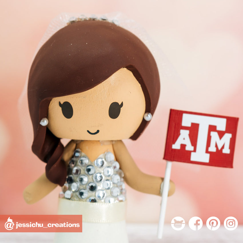 Dallas Cowboys Fan & Texas A&M Bride Custom Handmade Wedding Cake Topper Figurines | Wedding Cake Toppers | Cake Topper Gallery | Jessichu Creations
