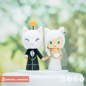 Final Fantasy XIV Miqo'te Bride & Groom | Custom Handmade Wedding Cake Topper Figurines | Jessichu Creations