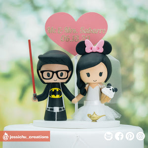 Batman Groom & Minnie Mouse Bride with Panda Ice Cream | Disney x DC | Custom Handmade Wedding Cake Topper Figurines | Jessichu Creations