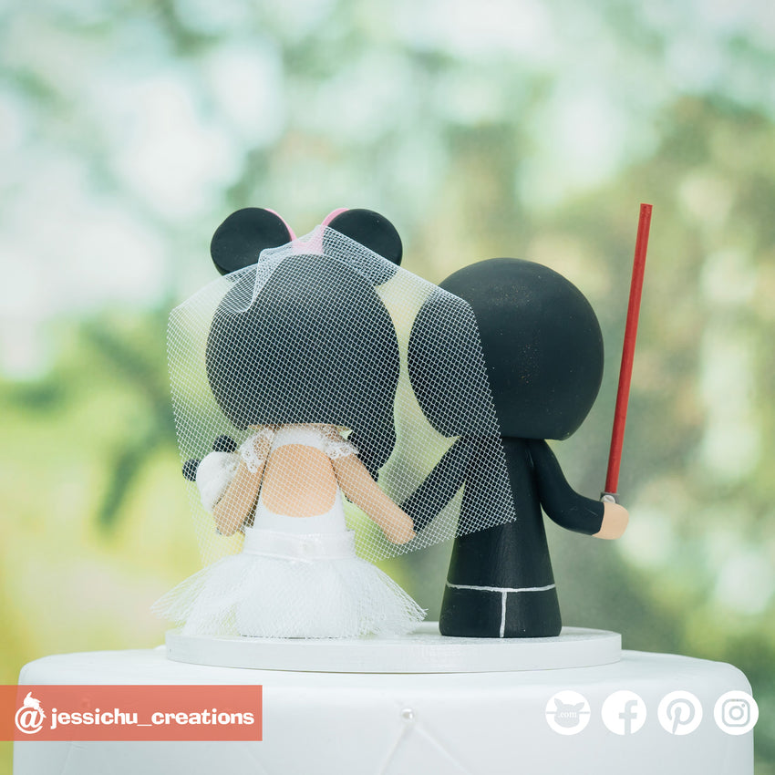 Batman Groom & Minnie Mouse Bride with Panda Ice Cream Inspired Disney x DC Wedding Cake Topper | Wedding Cake Toppers | Cake Topper Gallery | Jessichu Creations