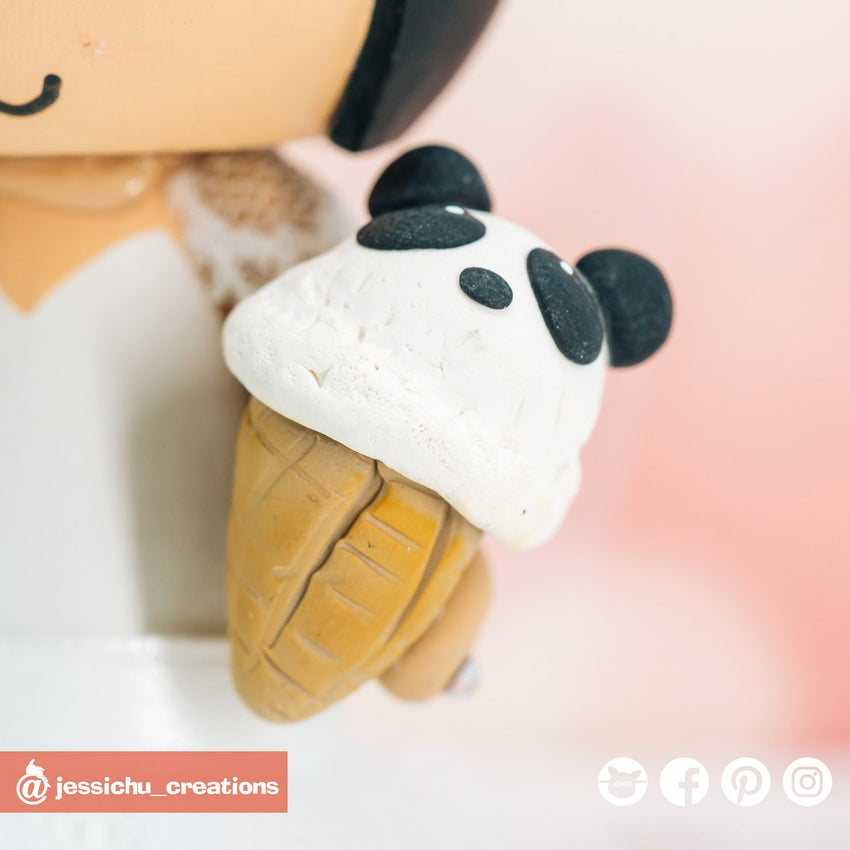 Panda Ice Cream | Accessories | Custom Handmade Wedding Cake Topper Figurines | Jessichu Creations
