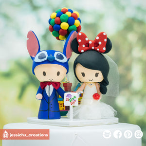 Disney Stitch Groom & Minnie Mouse Bride with Pixar UP House | Custom Handmade Wedding Cake Topper Figurines | Jessichu Creations