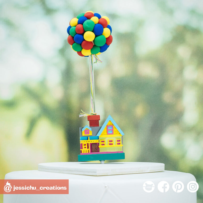 Disney Pixar UP House | Custom Handmade Wedding Cake Topper Figurines | Jessichu Creations