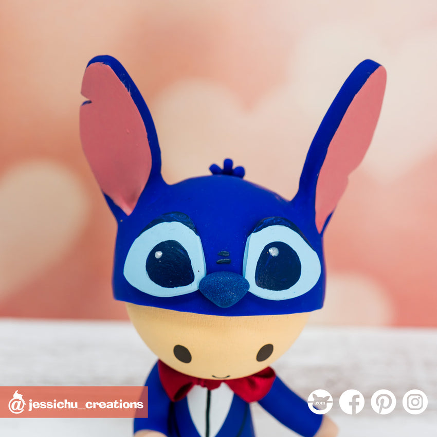 Disney Stitch Groom & Minnie Mouse Bride with Pixar UP House Wedding Cake Topper Figurines | Wedding Cake Toppers | Cake Topper Gallery | Jessichu Creations
