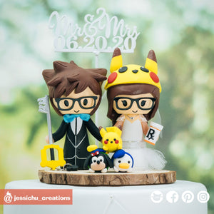 Sora Groom & Pikachu Bride with Tsum Tsums | Disney Kingdom Hearts x Pokemon | Custom Handmade Wedding Cake Topper Figurines | Jessichu Creations