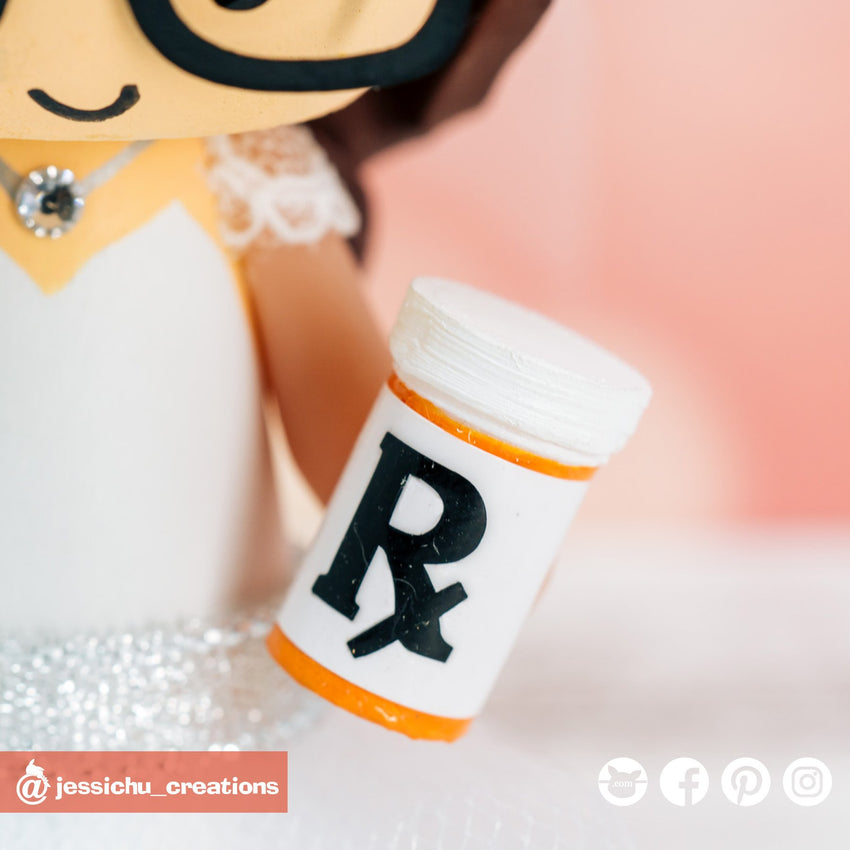 RX Prescription Bottle | Accessories | Custom Handmade Wedding Cake Topper Figurines | Jessichu Creations