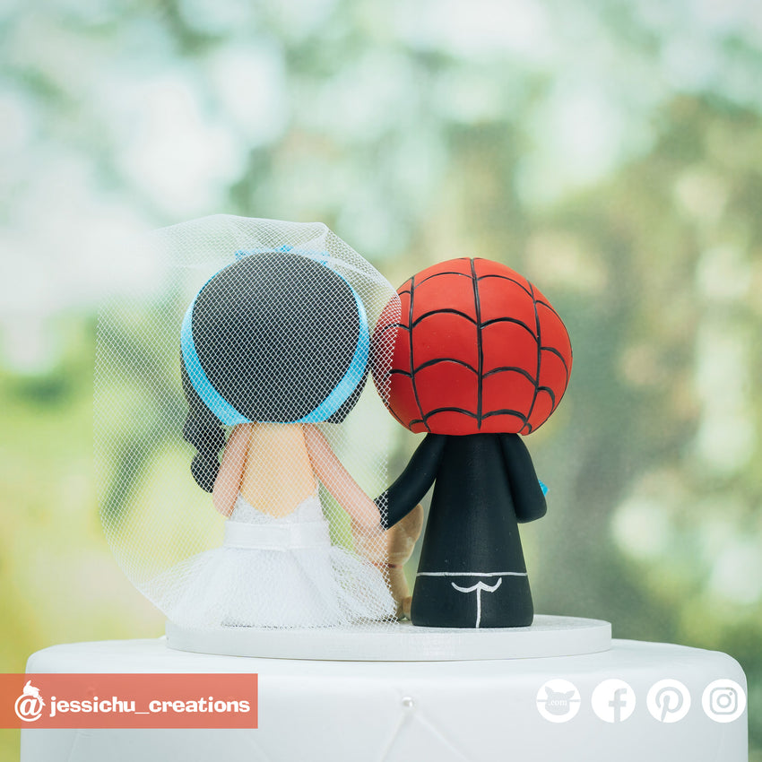 Captain America Groom & Cinderella Bride - Marvel x Disney Inspired Wedding Cake Topper | Wedding Cake Toppers | Cake Topper Gallery | Jessichu Creations