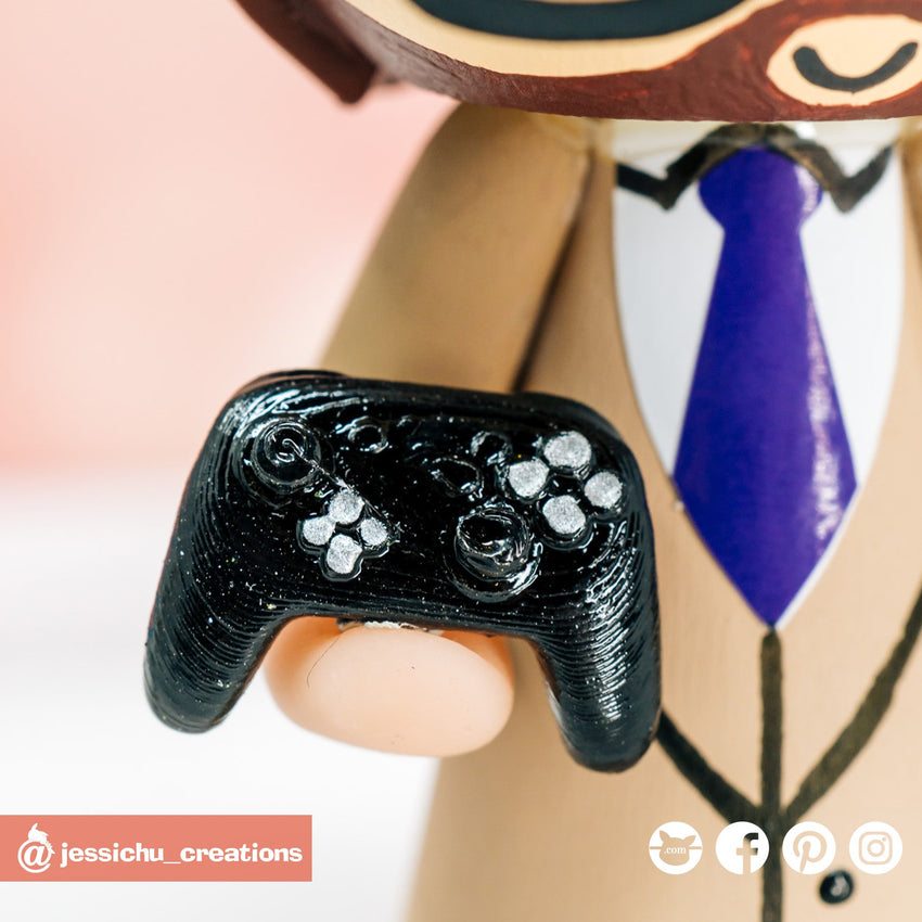 Nintendo Switch Pro Controller | Accessories | Custom Handmade Wedding Cake Topper Figurines | Jessichu Creations