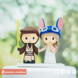 Jedi Groom & Stitch Bride | Disney x Star Wars | Custom Handmade Wedding Cake Topper Figurines | Jessichu Creations