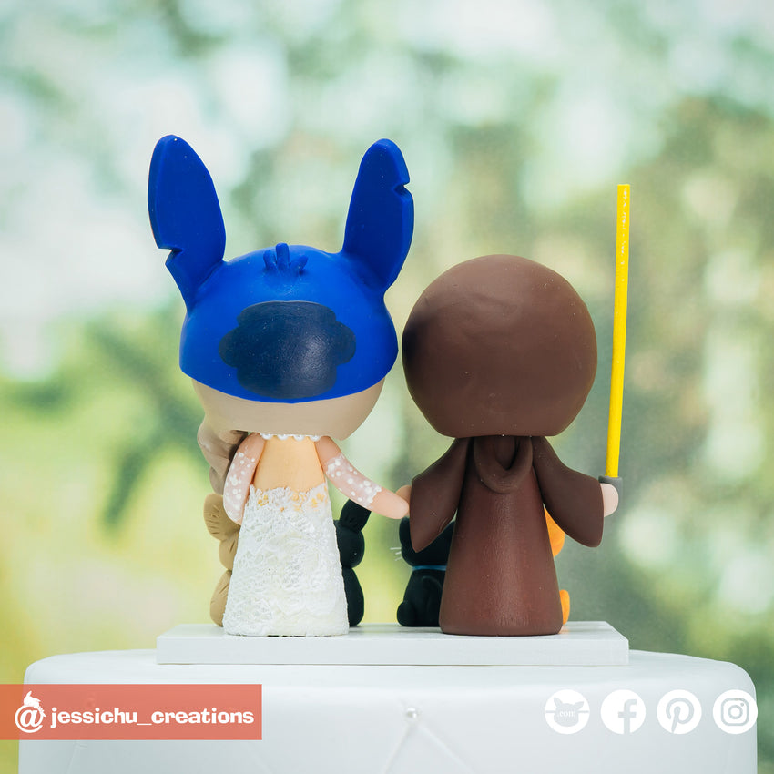 Jedi Groom & Stitch Bride with Pets Inspired Disney x Star Wars Custom Handmade Figurine Wedding Cake Topper | Wedding Cake Toppers | Cake Topper Gallery | Jessichu Creations