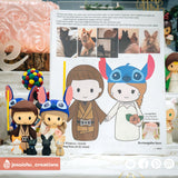 Jedi Groom & Stitch Bride with Pet Cats & Rabbits | Disney x Star Wars | Custom Handmade Wedding Cake Topper Figurines | Jessichu Creations