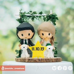 Adorable Vintage Bride & Groom | Custom Handmade Wedding Cake Topper Figurines | Jessichu Creations