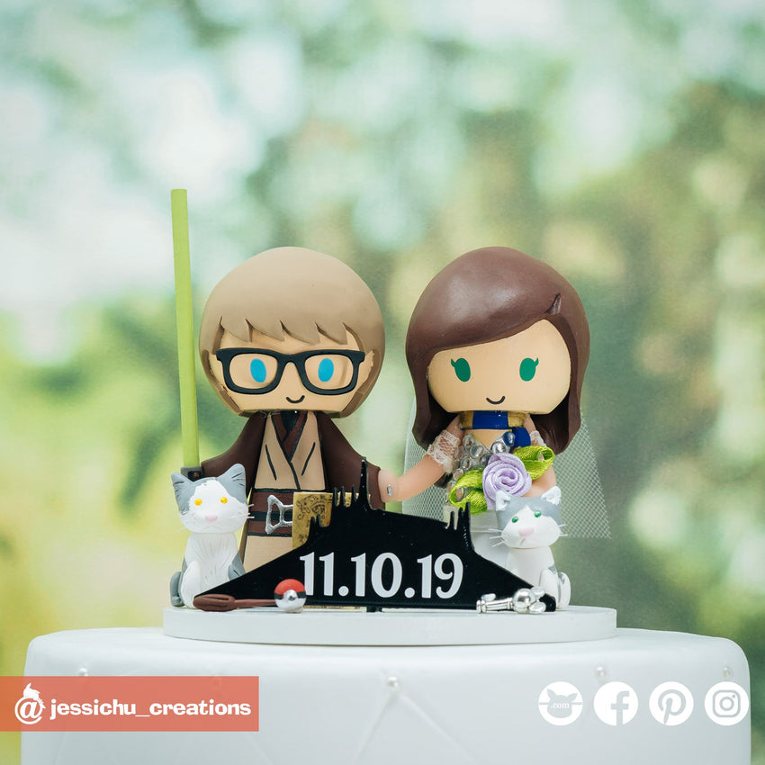 Jedi Groom & Harry Potter Ravenclaw Bride with Geeky Accessories | Star Wars x Harry Potter | Custom Handmade Wedding Cake Topper Figurines | Jessichu Creations