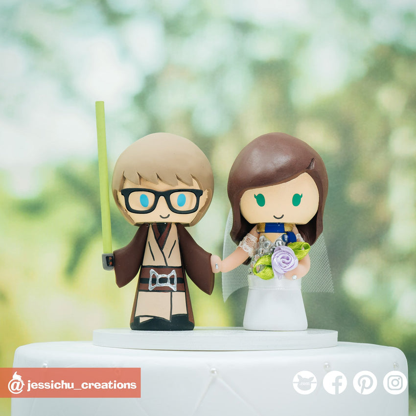 Jedi Groom & Harry Potter Ravenclaw Bride | Star Wars x Harry Potter | Custom Handmade Wedding Cake Topper Figurines | Jessichu Creations