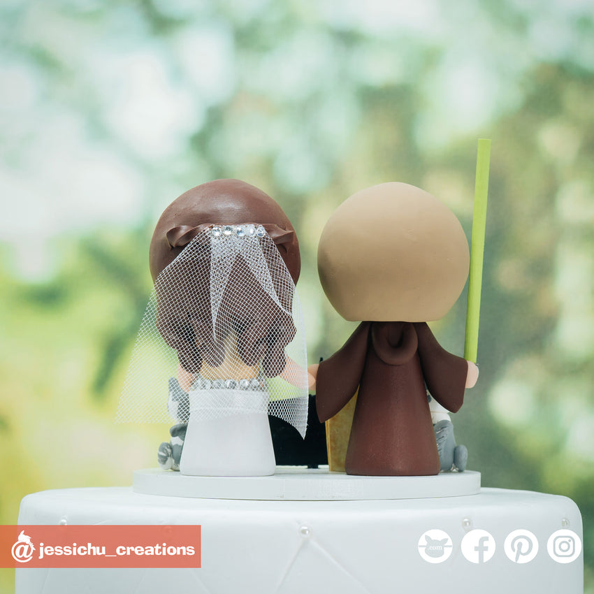 Jedi Groom & Harry Potter Ravenclaw Bride with Geeky Accessories Custom Wedding Cake Topper | Wedding Cake Toppers | Cake Topper Gallery | Jessichu Creations