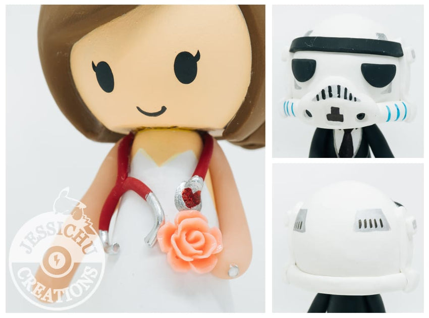 Stormtrooper and Nurse Wedding Cake Topper | Star Wars | Jessichu Creations
