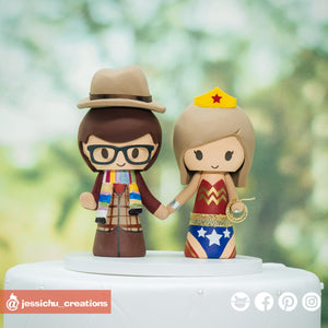 Fourth Doctor Groom & Wonder Woman Bride | Dr Who x DC | Custom Handmade Wedding Cake Topper Figurines | Jessichu Creations