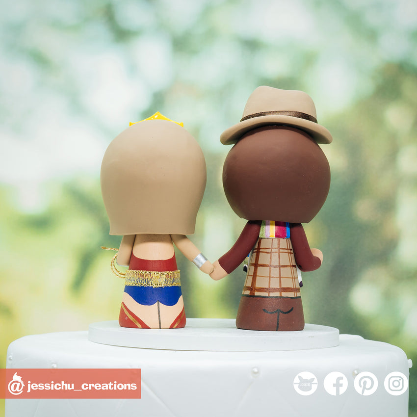 Fourth Doctor Groom & Wonder Woman Bride Inspired Dr Who x DC Wedding Cake Topper | Wedding Cake Toppers | Cake Topper Gallery | Jessichu Creations