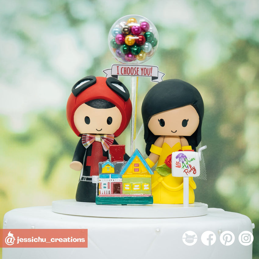 Deadpool Groom & Belle Bride with UP House | Disney x Pixar x Marvel | Custom Handmade Wedding Cake Topper Figurines | Jessichu Creations
