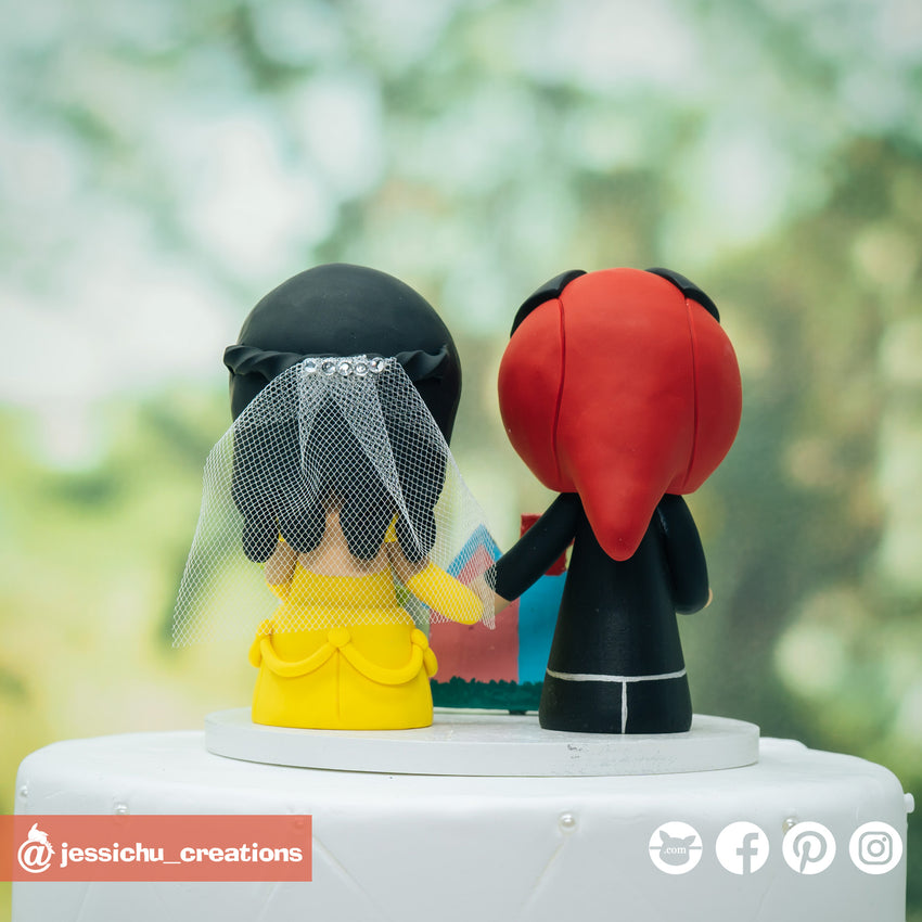 Deadpool Groom & Belle Bride with UP House Inspired Disney x Pixar x Marvel Wedding Cake Topper | Wedding Cake Toppers | Cake Topper Gallery | Jessichu Creations