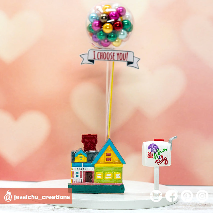 UP House, UP Balloons, Carl & Ellie Mailbox | Disney x Pixar | Custom Handmade Wedding Cake Topper Figurines | Jessichu Creations