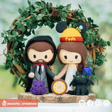 Geeky Groom & Winnie the Pooh Bride with Gengar & Toothless | Disney x HTTYD x Pokemon | Custom Handmade Wedding Cake Topper Figurines | Jessichu Creations