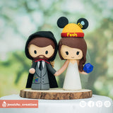 Geeky Groom & Winnie the Pooh Bride  | Disney | Custom Handmade Wedding Cake Topper Figurines | Jessichu Creations
