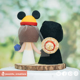 Geeky Groom & Winnie the Pooh Bride with Gengar & Toothless Inspired Disney x HTTYD x Pokemon Wedding Cake Topper | Wedding Cake Toppers | Cake Topper Gallery | Jessichu Creations