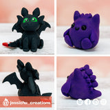 Gengar & Toothless | HTTYD x Pokemon | Custom Handmade Wedding Cake Topper Figurines | Jessichu Creations