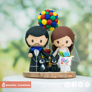 Pixar Up Wedding Cake Topper | Custom Handmade Wedding Cake Topper Figurines | Jessichu Creations