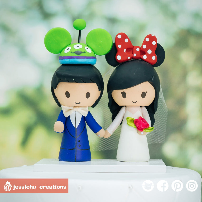 Alien Mickey Ears & Minnie Mouse Ears | Disney x Pixar x Toy Story | Custom Handmade Wedding Cake Topper Figurines | Jessichu Creations