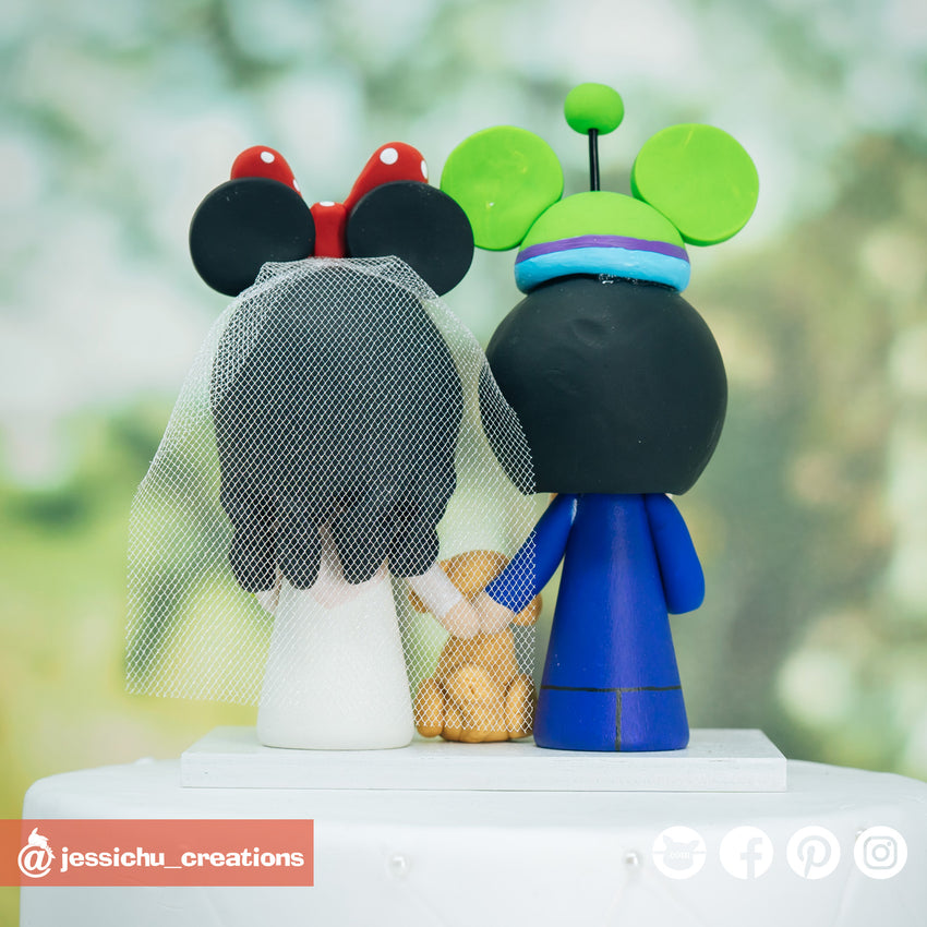Alien Mickey Ears & Minnie Mouse Ears Inspired Disney x Pixar x Toy Story Inspired Wedding Cake Topper | Wedding Cake Toppers | Cake Topper Gallery | Jessichu Creations