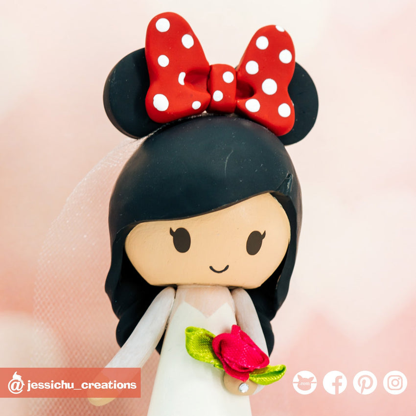 Minnie Mouse Ears | Disney | Custom Handmade Wedding Cake Topper Figurines | Jessichu Creations