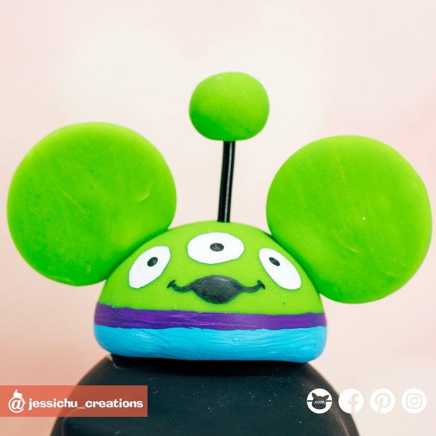 Alien Mickey Ears | Disney x Pixar x Toy Story | Custom Handmade Wedding Cake Topper Figurines | Jessichu Creations