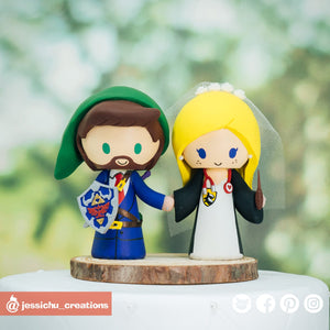Link & HP Hufflepuff | Zelda x Harry Potter | Custom Handmade Wedding Cake Topper Figurines | Jessichu Creations