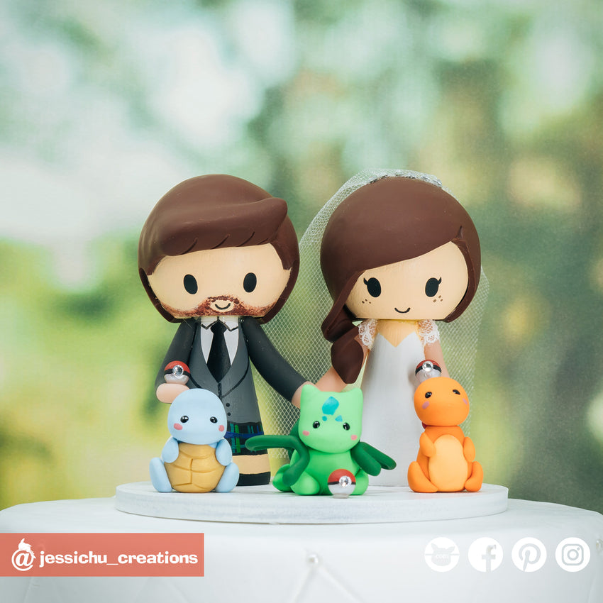 Scottish Groom & Pretty Bride with Pokemon Starters | Custom Handmade Wedding Cake Topper Figurines | Jessichu Creations
