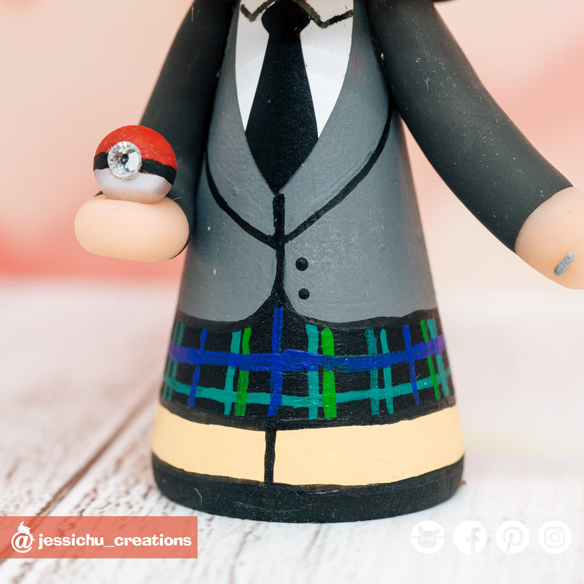 Scottish Groom & Pretty Bride with Pokemon Starters Custom Handmade Figurines Wedding Cake Topper | Wedding Cake Toppers | Cake Topper Gallery | Jessichu Creations